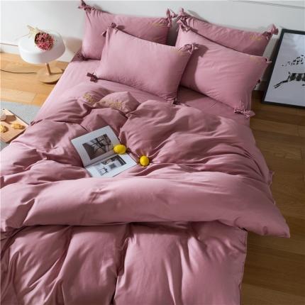 杰米家纺 长绒棉dearlife系列四件套床单款 粉