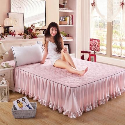 麦蕾迪家居 超柔短毛绒芳心绗绣床裙粉红色