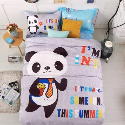 浩情国际 2016全棉喷气133*72卡通三件套 熊猫天使