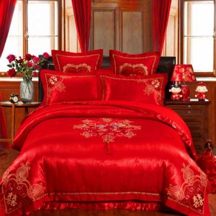 浩情国际 全棉精美彩绣婚庆多件套十里红妆