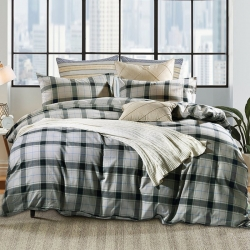 私享家家纺 温暖舒适棉法莱绒四件套灰色格纹