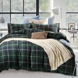 私享家家纺 温暖舒适棉法莱绒四件套绿色格纹