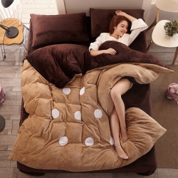 优贝家纺 加厚保暖法莱绒四件套卡其咖啡圆圈