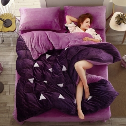 优贝家纺 加厚保暖法莱绒四件套紫罗兰魅紫粉三角形