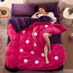 优贝家纺 加厚保暖法莱绒四件套玫红紫罗兰圆圈