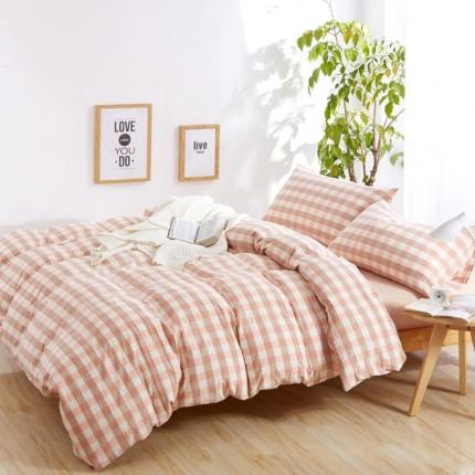 色织生活 简约宜家水洗棉四件套床单款粉色中格