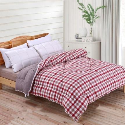 初舍家纺 温暖舒适水洗棉冬被红咖