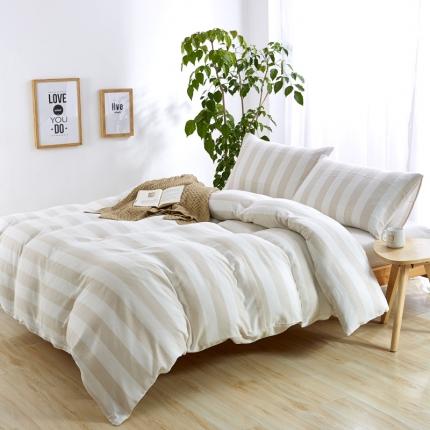 (总)色织生活 全棉色织树皮皱四件套床笠款