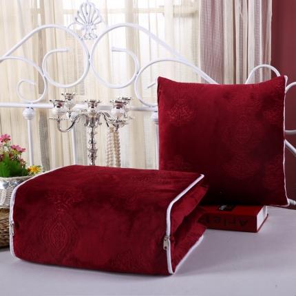 甜家美居 宝宝水晶绒多功能抱枕被 压花酒红色