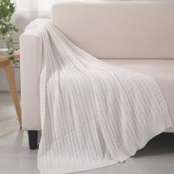 乐享生活 小麻花毯毛毯白色