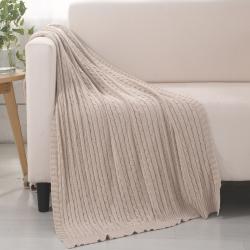 乐享生活 小麻花毯毛毯浅灰色