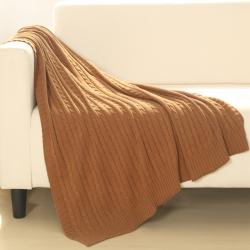 乐享生活 小麻花毯毛毯驼色