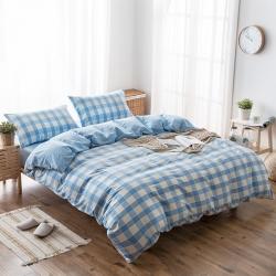 新棉坊 水洗棉四件套床单款提花-蓝