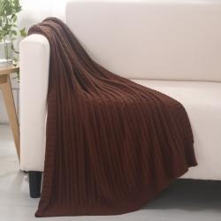 乐享生活 小麻花毯毛毯咖啡色