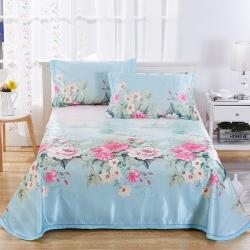 情书家纺 床单式冰丝席三件套凉席沁人花语(送包装)