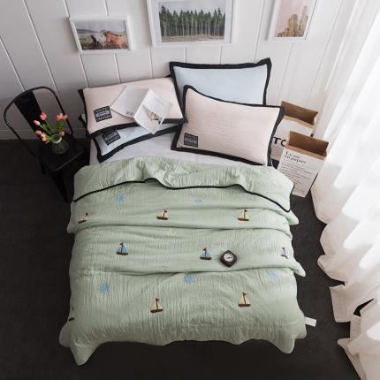 (总)立奥 水洗棉夏凉被空调被毛巾绣花夏被 可配枕套