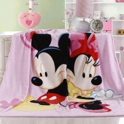 迪士尼家纺 柔软舒适法兰绒毛毯 粉色米妮