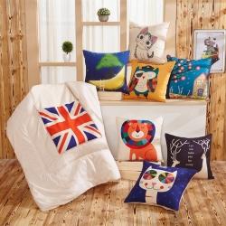 布语家纺 宜家亚麻风格抱枕被靠垫被两用抱枕被子午休空调被