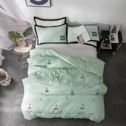 立奥 水洗棉冬被被子毛巾绣被芯 可配枕套 绿船