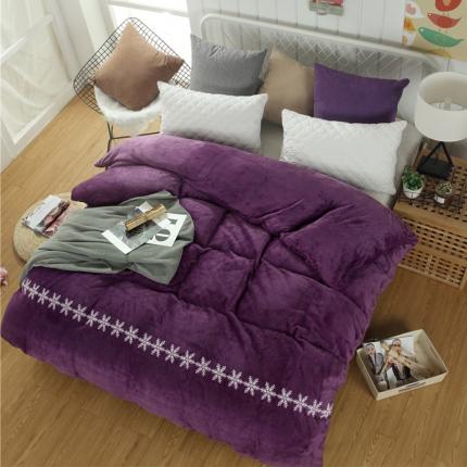 简约-高贵紫44个花色法莱绒被套【有同款法莱绒四件套毛毯】