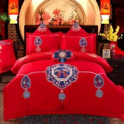 慕她家纺全棉纯棉婚庆四件套大红色刺绣结婚六件套多件套相守百年