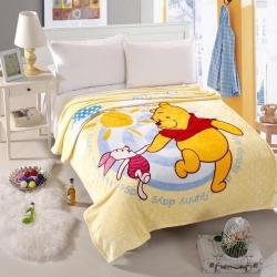 迪士尼家纺 柔软舒适法兰绒毛毯 阳光维尼