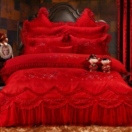浩情国际 全棉贡缎彩绣蕾丝提花四件套六件套八件套 一见钟情