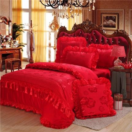 浩情国际 全棉贡缎提花蕾丝绣花四件套六件套套件 玫瑰新娘