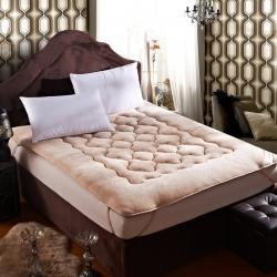 敢为床垫 精致保暖法莱绒床垫 米驼
