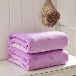 来菲家纺 纯色金貂绒毛毯浅紫