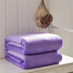来菲家纺 纯色金貂绒毛毯深紫