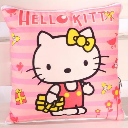 甜家美居 短毛绒数码印花抱枕被 粉KT