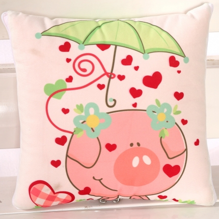 甜家美居 短毛绒数码印花抱枕被 开心猪