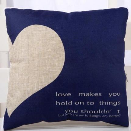 甜家美居 棉麻数码印花抱枕被 爱心-蓝