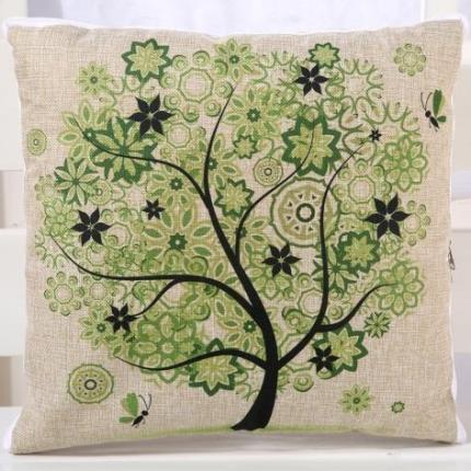 甜家美居 棉麻数码印花抱枕被 相思树-绿