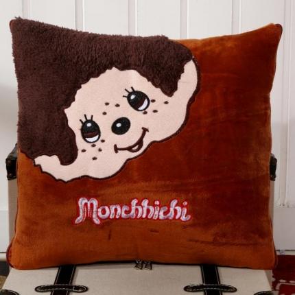 甜家美居 多功能短毛绒卡通抱枕被 蒙奇奇-咖