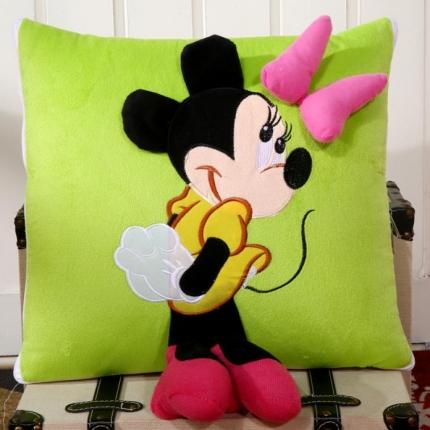 甜家美居 多功能短毛绒卡通抱枕被 米奇-绿