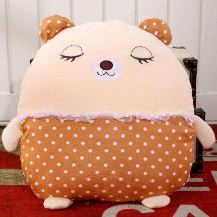 甜家美居 多功能短毛绒卡通抱枕被 棕色小熊