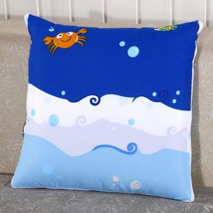 甜家美居 升级版四季通用磨毛印花抱枕被 海底世界