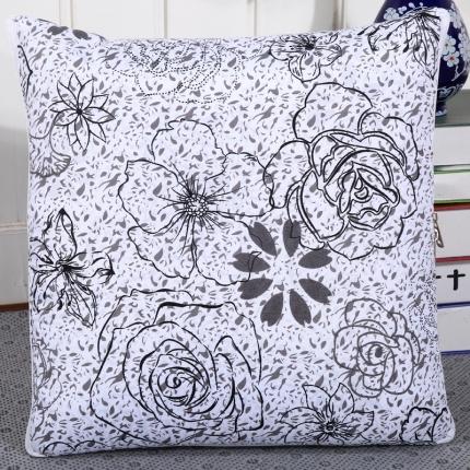 甜家美居 新升级版四季通用磨毛印花抱枕被 黑玫瑰