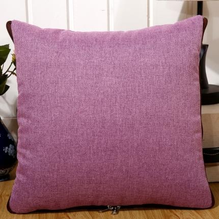甜家美居 纯色棉麻多功能抱枕被 棉麻-浅紫色