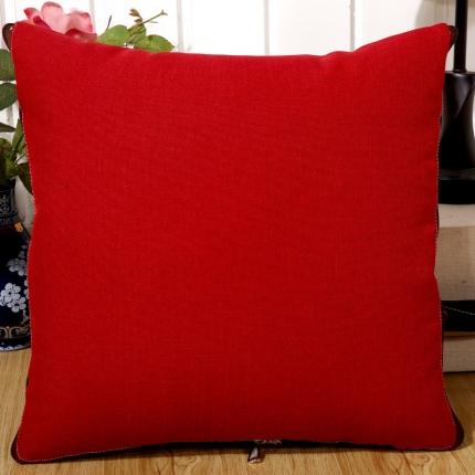 甜家美居 纯色棉麻多功能抱枕被 棉麻-大红色
