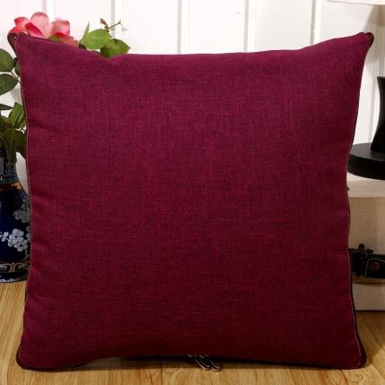 甜家美居 纯色棉麻多功能抱枕被 棉麻-玫红色