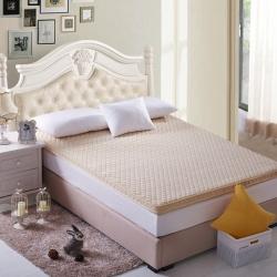 芙琳家纺 精美超柔珊瑚绒立体床垫 米黄