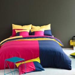 风向标家纺 全棉活性三拼色四件套撞色床品套件床单款风情巴塞