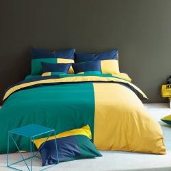 风向标家纺 全棉活性三拼色四件套撞色床品套件床单款挪威森林
