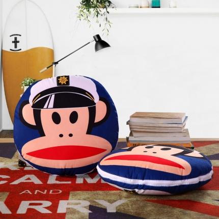 甜家美居 2016卡通定位圆形绗缝抱枕被海军猴