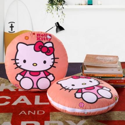 甜家美居 2016卡通定位圆形绗缝抱枕被小花KT猫