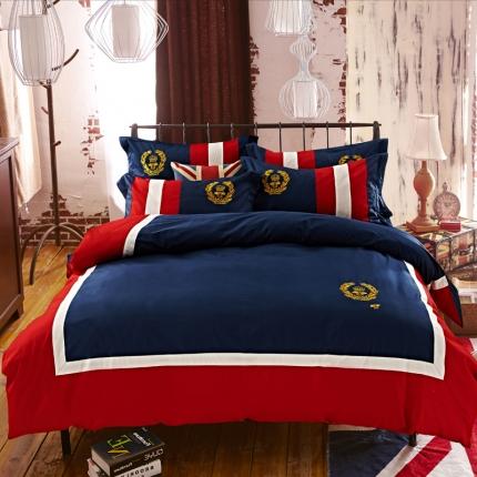 (总)杰米家居 时尚英伦徽章系列精致四件套