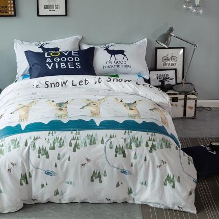 风向标家纺专版北欧简约混搭130*70四件套床单款 范儿麋鹿